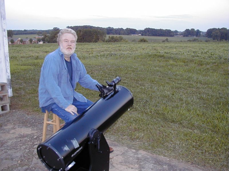 "Robert with 10"" Dobsonian telescope"