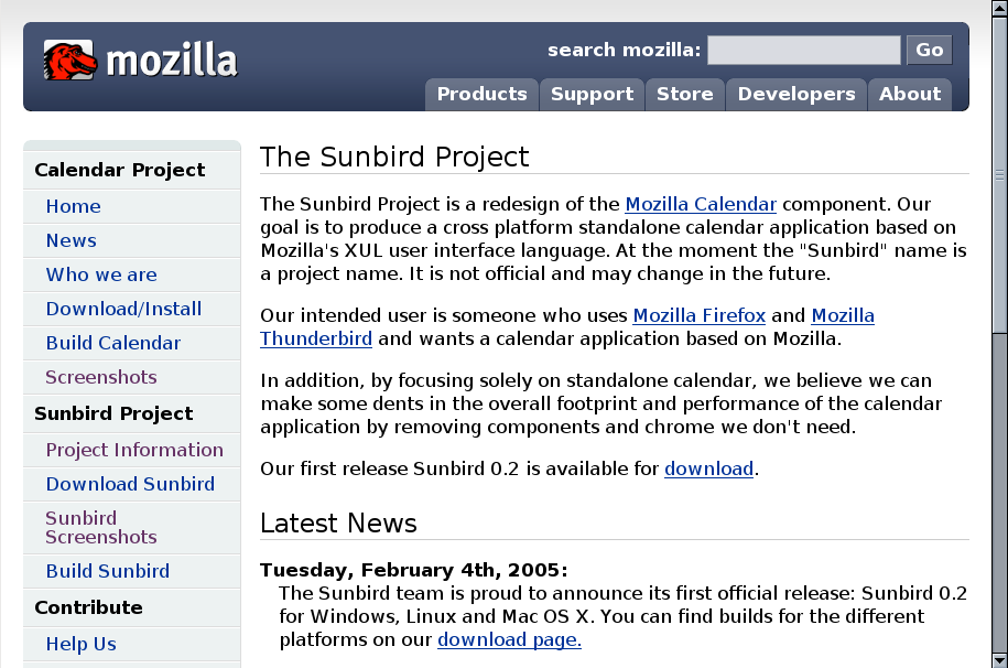 Sunbird screenshot